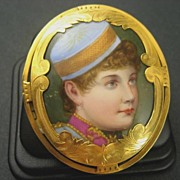 Vintage Hand Painted On Porcelain Lillian Russell Brooch