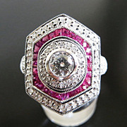 Magnificent Lady's Platinum Diamond & Ruby Ring