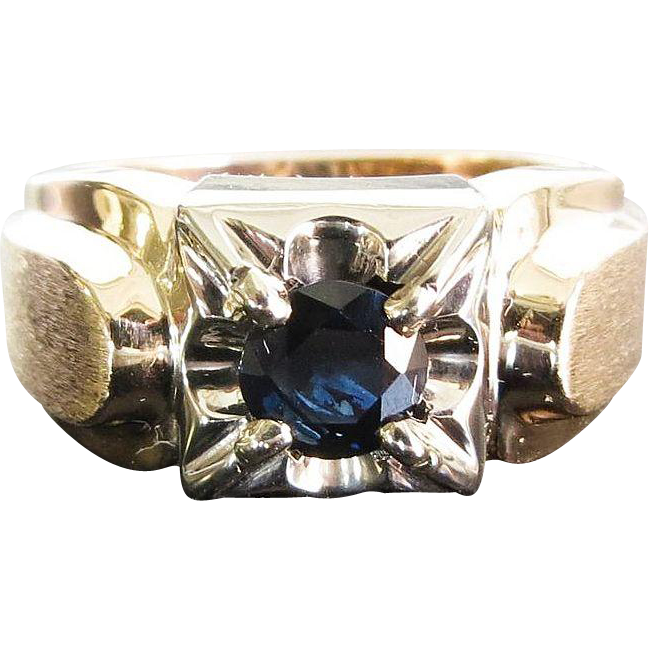 Gent's Vintage 14K Sapphire Ring