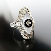 Lady's 14K Art Deco Filigree Diamond & Crystal Ring