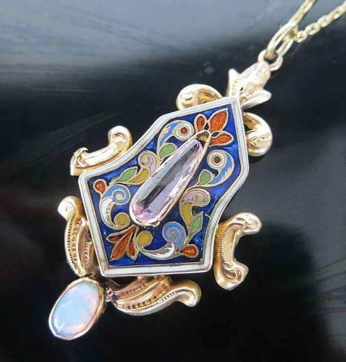 Lady's Circa 1890 14K Russian Enameled Opal Pendant