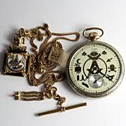 Rare Vintage 1930's Masonic Pocket Watch & Fob