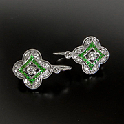 Lady's Custom 14K Tsavorite Garnet & Diamond Earrings