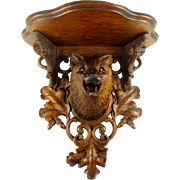 Rare Antique Black Forest Hand Carved FOX Head, Glass Eyes, Wall Console Bracket Shelf