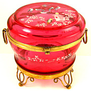 Antique Bohemian Raised Enamel Cranberry Glass Jewelry Casket / Box