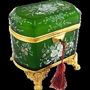 Antique French Hand Painted Enamel Cut Glass Gilt Ormolu Jewelry Casket Box