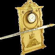 Antique French Napoleon III Empire Gilt Bronze Ormolu Pocket Watch Display Stand, Pen Rest / Card Holder