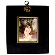 Victorian Nude Leda & the Swan Miniature Portrait Enamel on Copper Plaque Papier Mache Frame