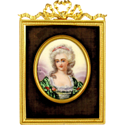 Antique French Enamel on Copper Miniature Portrait Plaque, Gilt Bronze Frame