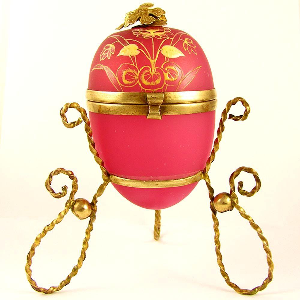 Antique French Pink Opaline Glass Egg Casket Hinged Box, Enamel