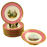 Antique 19c Minton English Porcelain Pink Ground Hand Painted Topographical Part Dessert Service Plates
