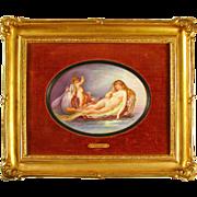 Antique French Signed Hand Painted Portrait Porcelain Plaque, Nude & Cherub