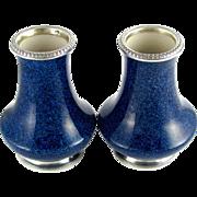 Pair French Paul Milet for Sevres Porcelain Vases Hallmarked Sterling Silver 950 Mounts