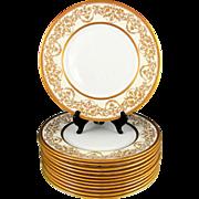 12 Royal Doulton English Porcelain Raised Gilt Enamel Gold Encrusted Plates Set, Davis Collamore & Co