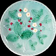 Vintage W. German Majolica Plate, Strawberry Motif on Blue