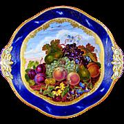 Antique French Sevres Porcelain Tray, Gilt & Blue Lapis Border, Hand Painted Fruit Still Life