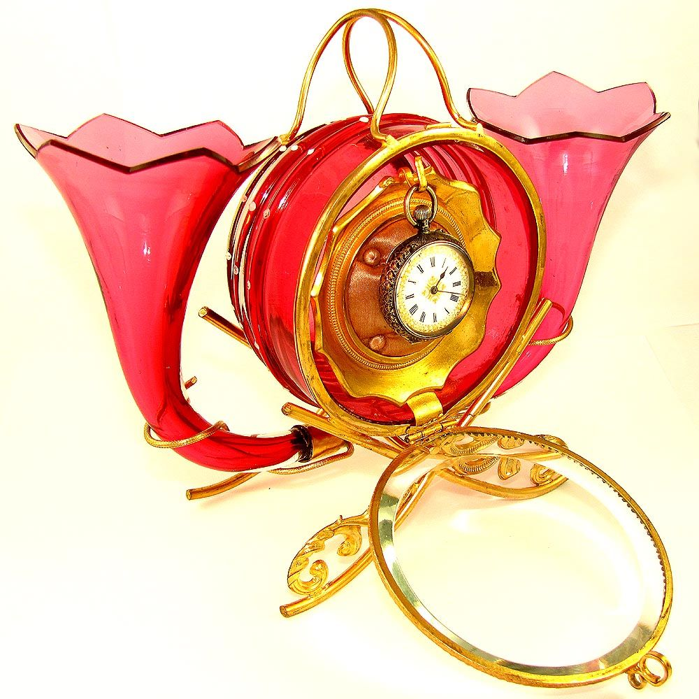 Antique French Enamel & Cranberry Glass Ormolu Pocket Watch Holder / Display Vitrine Box