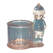 SALE Clear Glass Kewpie Candy Holder - Marked
