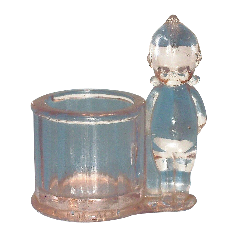 Clear Glass Kewpie Candy Holder - Marked