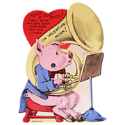 Vintage Mechanical Pig & Tuba Valentine - Marked