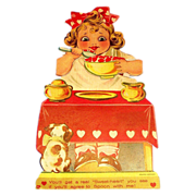 Vintage Girl Eating Red Heart Porridge Valentine - Marked