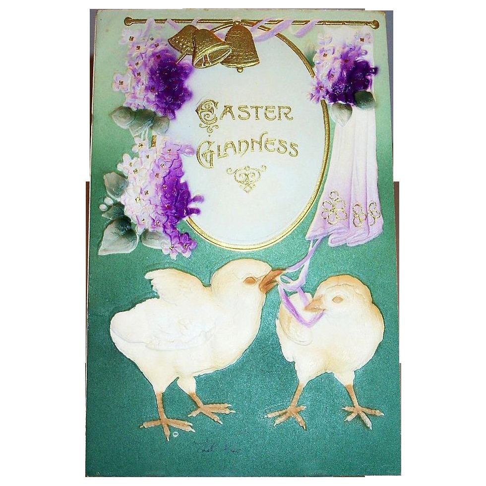Easter Gladness: Air Brush Chicks & Violets Postcard