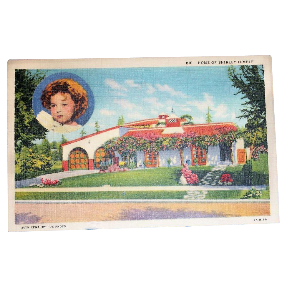 Home Of Shirley Temple Linen Postcard - Marked