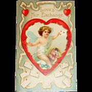 Vintage Valentine Postcard - Love's Fair Exchange - Germany