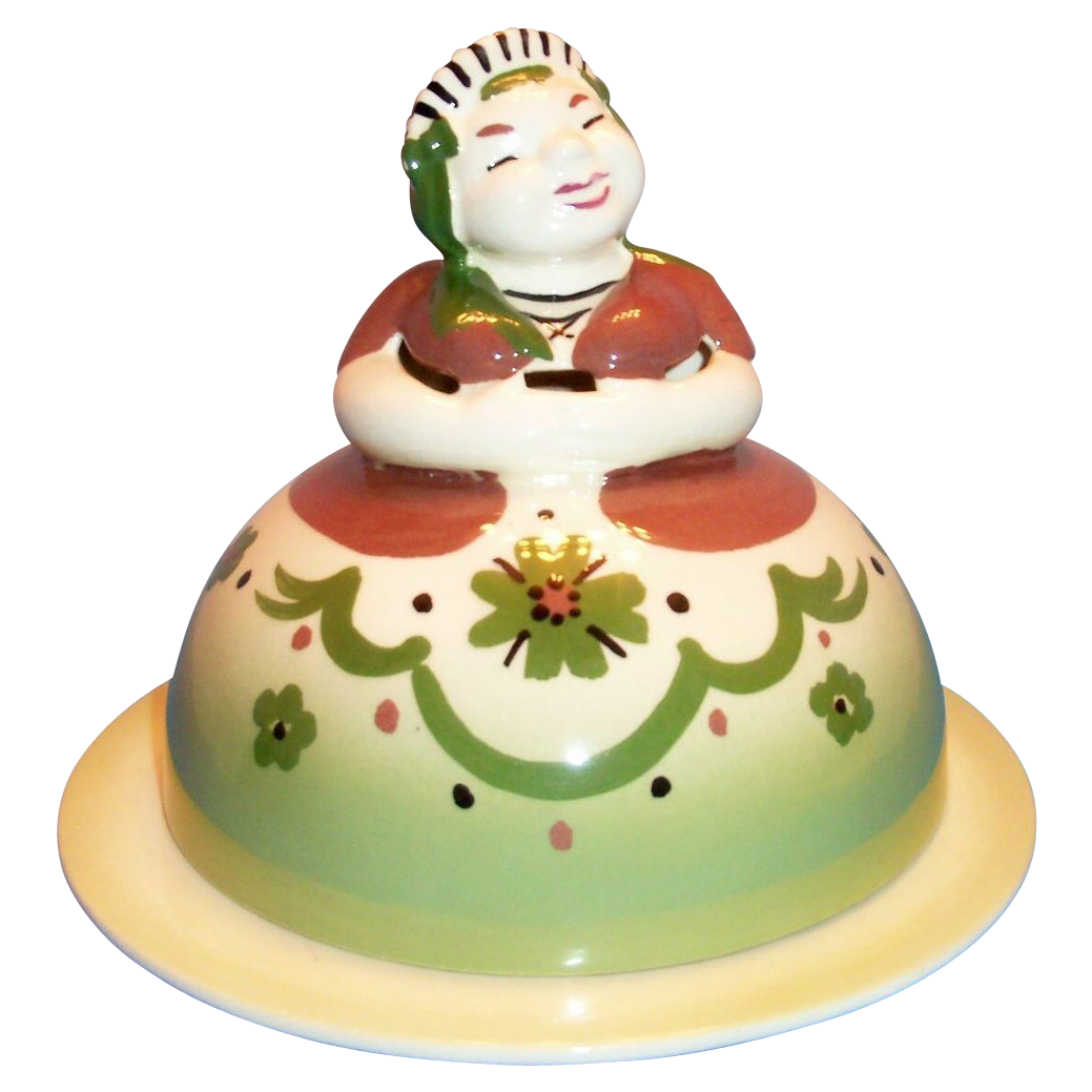 California Pottery: Cleminsons: Dutch Frau Handpainted Porcelain Figural Covered Butter Dish - Marked