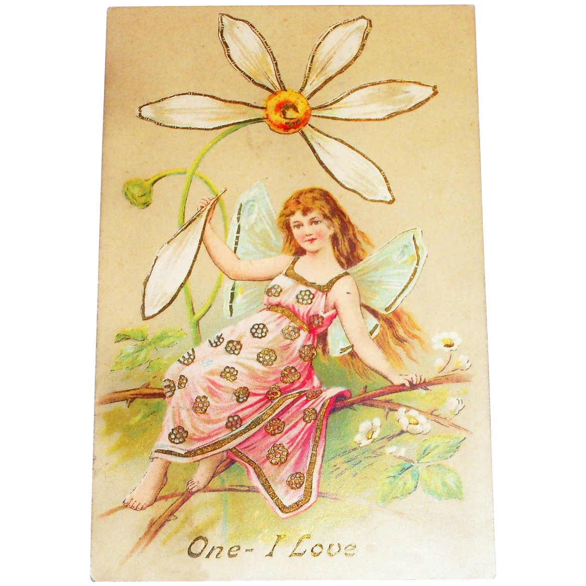 Vintage Valentine Postcard - One I Love