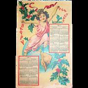 1911 Happy New Year Calendar Postcard