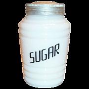 Hazel Atlas Round Ribbed Platonite Sugar Shaker