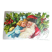 Embossed Glossy Santa Claus with Little Girl Postcard - Marked