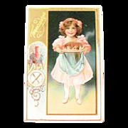 Thanksgiving: Little Girl Holding Cooked Turkey on Platter Postcard