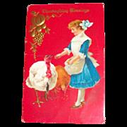 Thanksgiving Blessings: Little Girl Feeding Turkeys Postcard