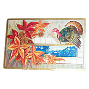 Thanksgiving Greetings: Embossed Fall Colored Leaves & Turkey Postcard