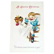 """""""A Joyous Christmas""""  Comes But Once A Year Postcard"""