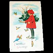 """Christmas Greetings"" Girl Feeding Birds Postcard - Marked"