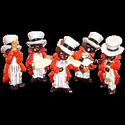 SALE Black Americana: 5 Piece Handpainted Porcelain Musician Figurines Band - Marked