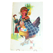 """SALE """"Welcome Easter Morning"""" Chicken With Basket Of Eggs Postcard"""