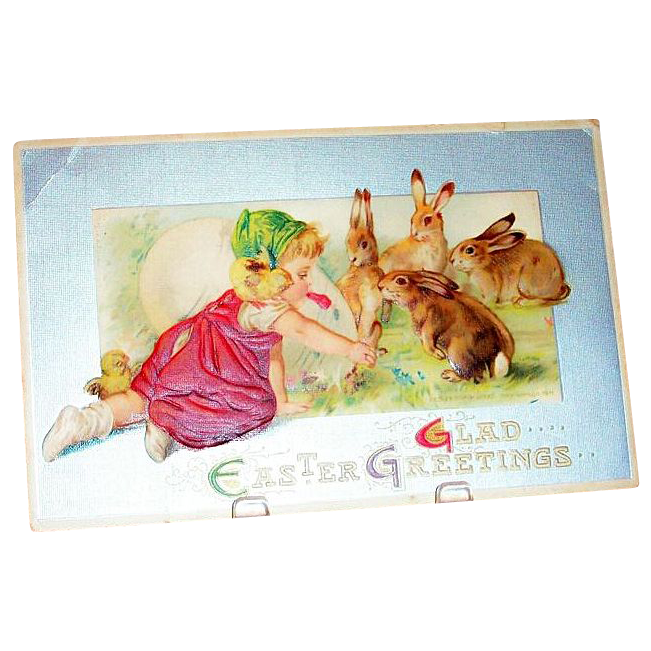 """Glad Easter Greetings"" Toddler Girl With Rabbits & Large Egg Postcard"