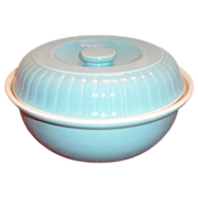 """Hall China & Forman Family Products """"Ribbed Buffet"""" Blue Stoneware Casserole - Marked"""