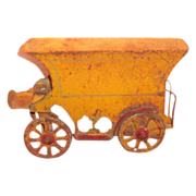 Early 1900s Tin & Wooden Bottom Toy Wagon