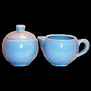 SALE Vernonware: Modern California Azure Blue Stoneware Sugar & Creamer Set - Marked