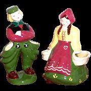 Pair of Hand Painted Underglaze Pottery Dutch Couple Figurine Planters