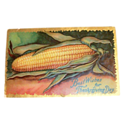 SALE Best Wishes For Thanksgiving Day Corn Cob Design & Embossed Postcard