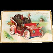 "Tuck & Sons: Embossed ""Thanksgiving Day"" Mr. & Mrs. Turkey Postcard"
