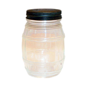 Vintage Battleship Prepared Mustard Glass Barrel Bank/Jar with Tin Lid - Marked