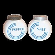 Anchor Hocking: Vitrock Blue Circle Salt & Pepper Set