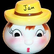California Pottery: Anthropomorphic Porcelain Head Jam Jar - Marked